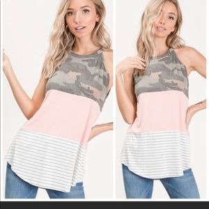 BOUTIQUE- CAMO/PINK/STRIPED LOOSE TANK